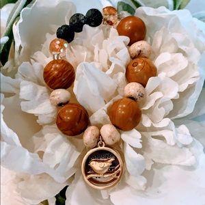 Handmade Wood Jasper and Lava Stone Bracelet
